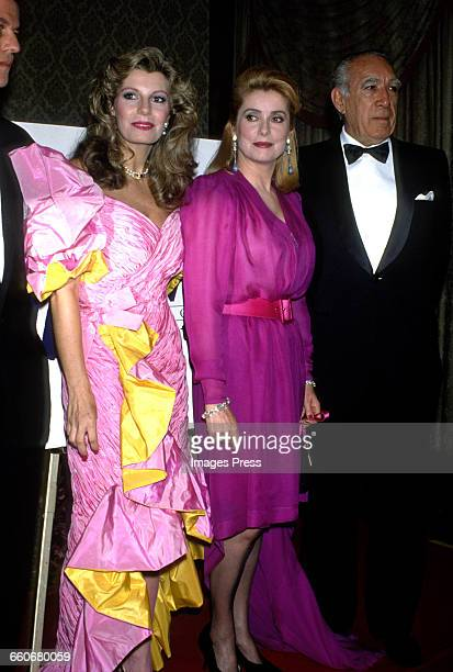 Yasmin Aga Khan Catherine Deneuve and Anthony Quinn circa 1988 in New York City