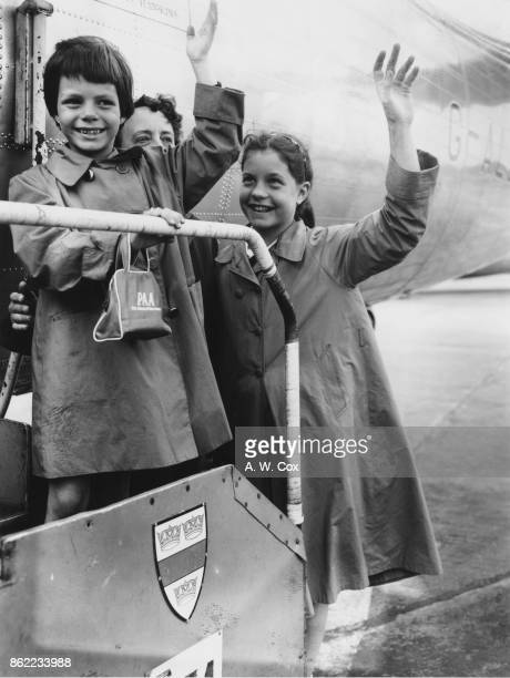 Yasmin and Rebecca the daughters of American actress Rita Hayworth leave London Airport for Nice in France at the end of their first visit to the...