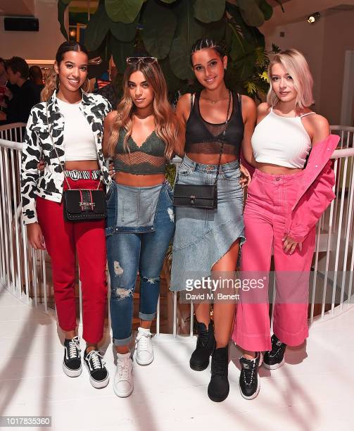 Yasmin Broom Caroline Alvares Sophia Saffarian Lauren Rammell from Four of Diamonds attend a live instore performance of Alice for Fiorucci on August...