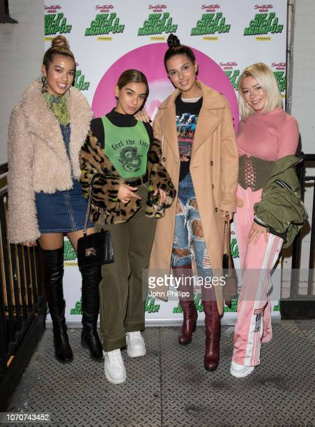 Yasmin Broom Caroline Alvares Sophie Saffarian and Lauren Rammell of Four of diamonds attends the 'How to Catch A Krampus' press night at Pleasance...