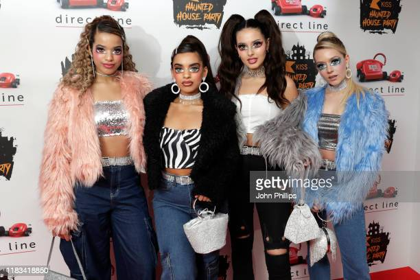 Yasmin Broom Lauren Rammell Caroline Alvares and Sophia Saffarian of 'Four of Diamonds' attend the KISS Haunted House Party 2019 at The SSE Arena...
