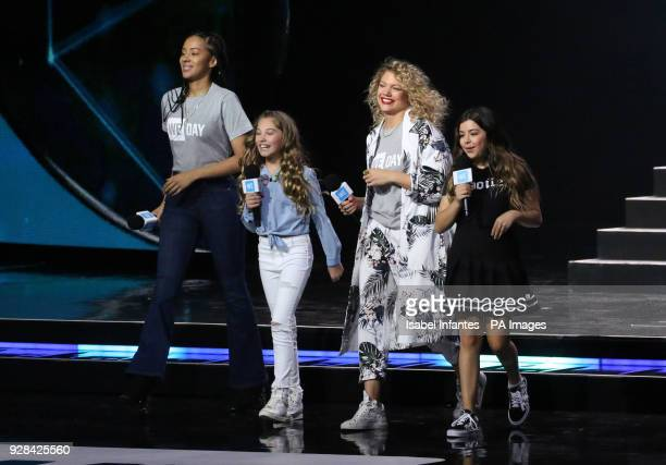Yasmin Evans Rosie McClelland Sophia Grace and Becca Dudley at the We Day UK charity event and concert at the SSE Arena London