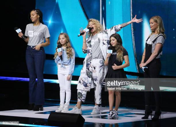 Yasmin Evans Rosie McClelland Sophia Grace Becca Dudley and Laura Whitmore at the We Day UK charity event and concert at the SSE Arena London