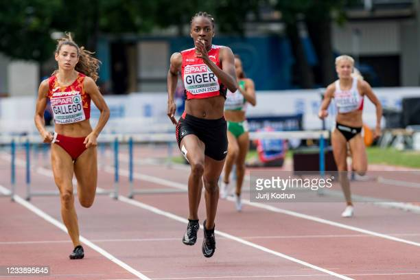 Yasmin Giger of Switzerland competes during Women's 400m Hurdles Semi-Final 1 during 2021 European Athletics U23 Championships - Day 2 at at Kadriorg...