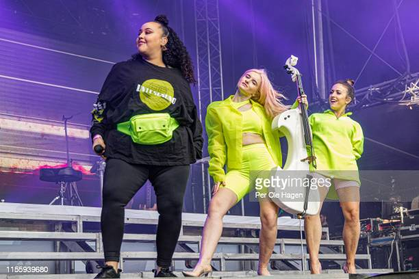Yasmin Green Grace Chatto and Kirsten Joy from Clean Bandit on stage at Bergenfest on June 14 2019 in Bergen Norway