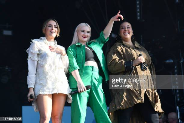 Yasmin Green Grace Chatto and Kirsten Joy perform with Clean Bandit on stage during BBC2 Radio Live 2019 at Hyde Park on September 15 2019 in London...