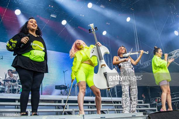 Yasmin Green Grace Chatto Stephanie Benedetti and Kirsten Joy from Clean Bandit on stage at Bergenfest on June 14 2019 in Bergen Norway
