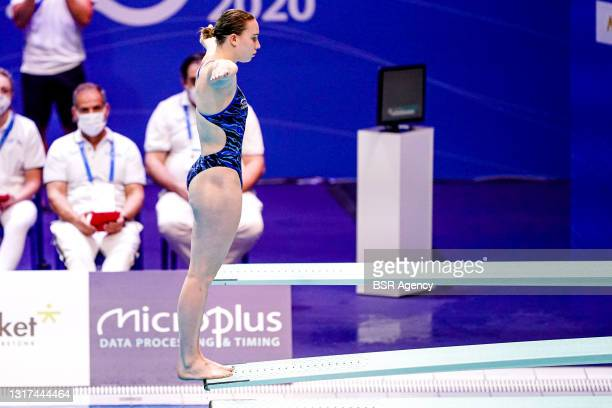 Yasmin Harper of Great Britain competing at the Team Event Preliminary during the LEN European Aquatics Championships 1m Springboard Preliminary at...