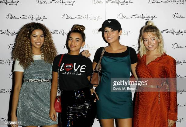 Yasmin Lauryn Caroline Alvares Sophia Saffarian and Lauren Rammell of Four of Diamonds attend the Miss Selfridge Christmas party collection Launch at...