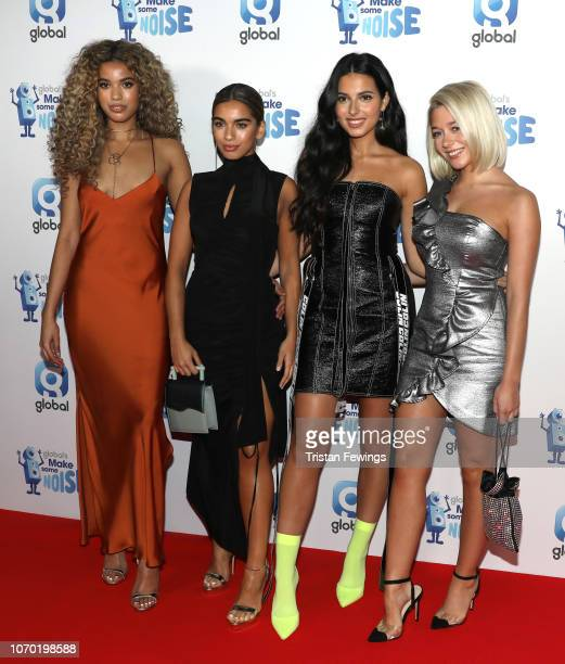 Yasmin Lauryn Caroline Alvares Sophia Saffarian and Lauren Rammell from Four of Diamonds attend the Love Island final viewing party hosted by Capital...