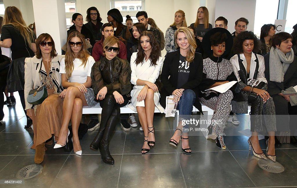 Yasmin Le Bon, Amber Le Bon, Noomi Rapace, Emily Ratajkowski, Alice Eve, Janelle Monae and Aluna Francis attend the Antonio Berardi show during London Fashion Week Fall/Winter 2015/16 at 10 Bloomsbury Way on February 23, 2015 in London, England.