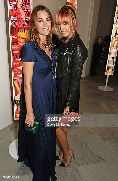 Yasmin Le Bon and Amber Le Bon attend a private view of 'Vogue 100 A Century of Style' hosted by Alexandra Shulman and Leon Max at the National...