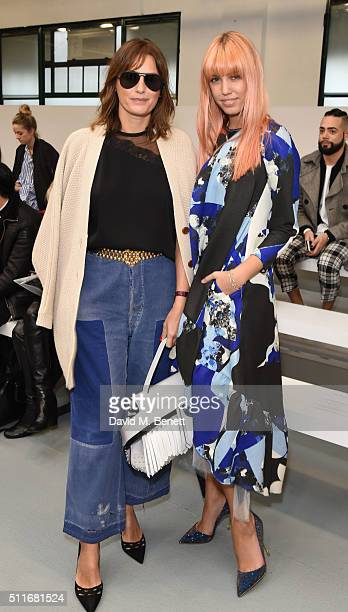 Yasmin Le Bon and Amber Le Bon attend the Antonio Berardi show during London Fashion Week Autumn/Winter 2016/17 at Brewer Street Car Park on February...