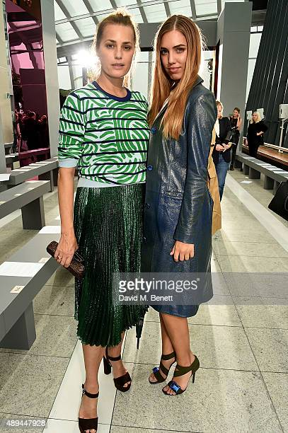 Yasmin Le Bon and Amber Le Bon attend the Christopher Kane show during London Fashion Week SS16 at Sky Garden on September 21, 2015 in London,...