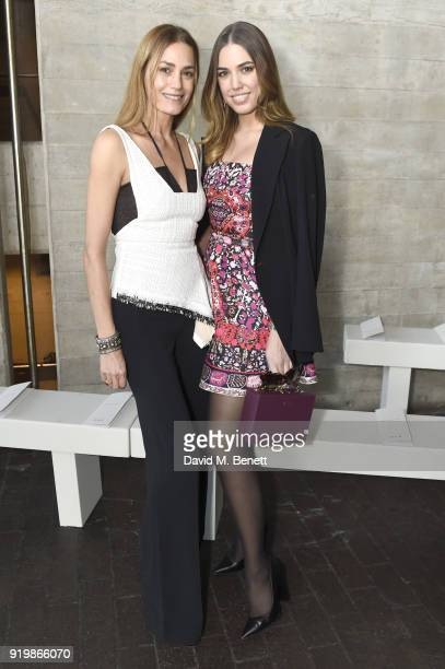 Yasmin Le Bon and Amber Le Bon attend the Roland Mouret show during London Fashion Week February 2018 at The National Theatre on February 18 2018 in...