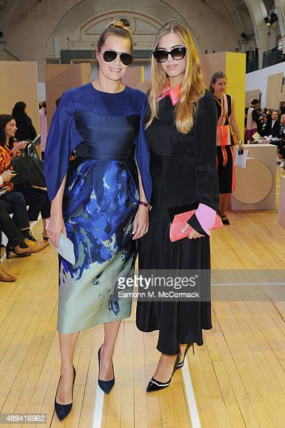 Yasmin Le Bon and Amber Le Bon wearing Roksanda as they attend the Roksanda show during London Fashion Week Spring/Summer 2016 on September 21 2015...
