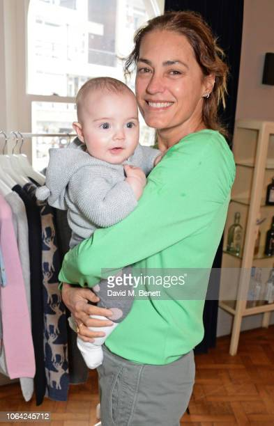 Yasmin Le Bon and baby Taro attend an exclusive breakfast hosted by Malin Jefferies to celebrate the launch of Malin Darlin at Laylow on November 22...