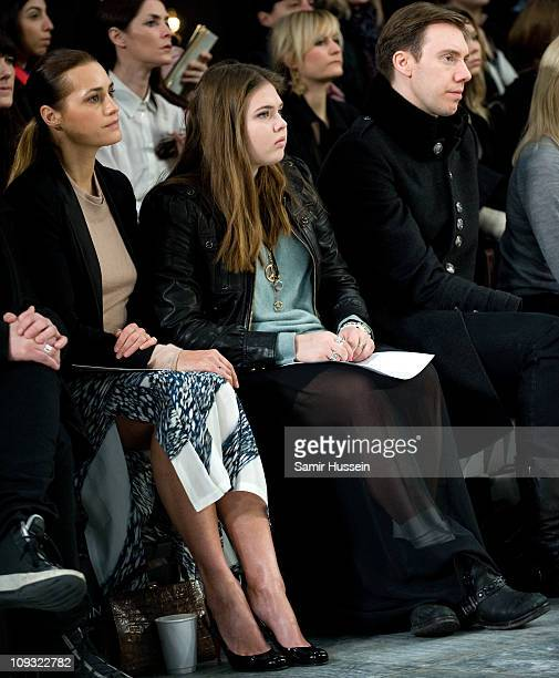 Yasmin Le Bon and daughter Tallulah Le Bon attend the Peter Pilotto show during London Fashion Week Autumn/Winter 2011 at the Topshop Showspace on...