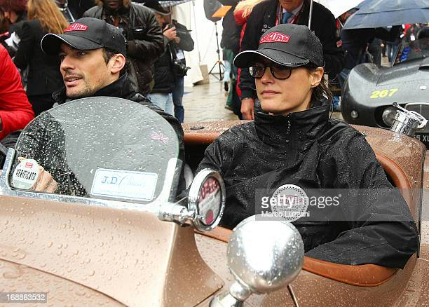 Yasmin Le Bon and David Gandy attend the 2013 Mille Miglia on May 16 2013 in Brescia Italy