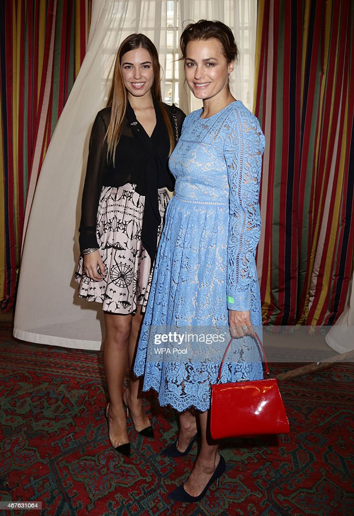 Yasmin Le Bon (R) and her daughter Amber Le Bon attend a reception to launch 'Travels To My Elephant' at Clarence House on March 26, 2015 in London, England. In November 2015 a fleet of thirty rickshaws will journey 500km across Madhya Pradesh, India, in a race to save Asias elephants from extinction.