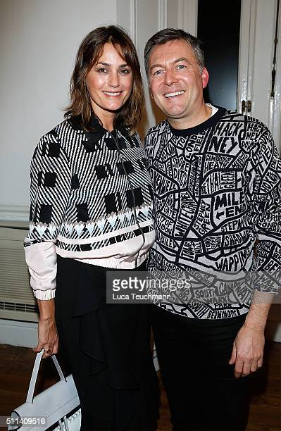 Yasmin Le Bon and Markus Lupfer attend the Markus Lupfer show during London Fashion Week Autumn/Winter 2016/17 at on February 20 2016 in London...