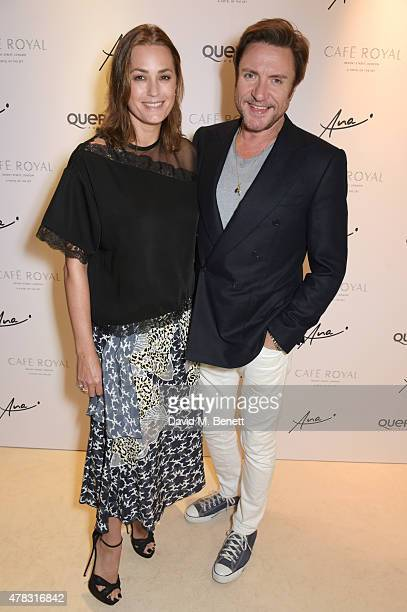 Yasmin Le Bon and Simon Le Bon arrive at the Quercus Foundation PreWimbledon Cocktails with Ana Ivanovic in the Ten Room at Hotel Cafe Royal on June...