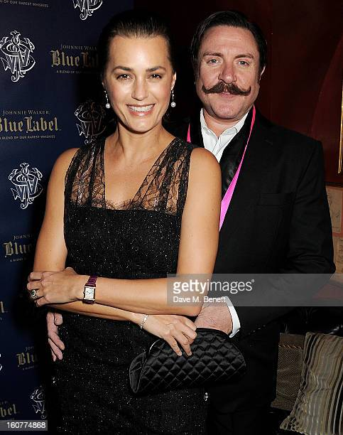 Yasmin Le Bon and Simon Le Bon attend a party celebrating the new partnership between Johnnie Walker Blue Label and model David Gandy at Annabels on...