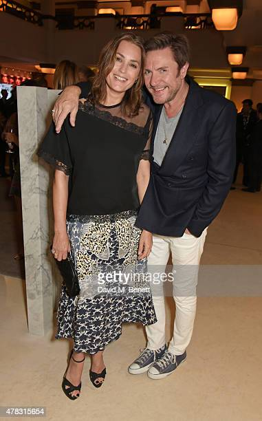 Yasmin Le Bon and Simon Le Bon attend the Quercus Foundation PreWimbledon Cocktails with Ana Ivanovic in the Ten Room at Hotel Cafe Royal on June 24...