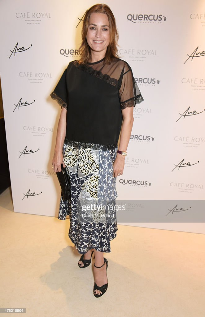 Yasmin Le Bon arrives at the Quercus Foundation Pre-Wimbledon Cocktails with Ana Ivanovic in the Ten Room at Hotel Cafe Royal on June 24, 2015 in London, England.