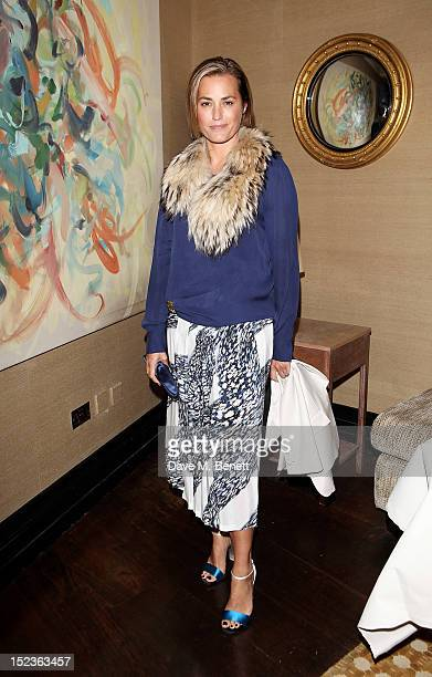 Yasmin Le Bon attends a cocktail party hosted by new EditorinChief of Harper's Bazaar UK Justine Picardie Manolo Blahnik and Penelope Tree to...