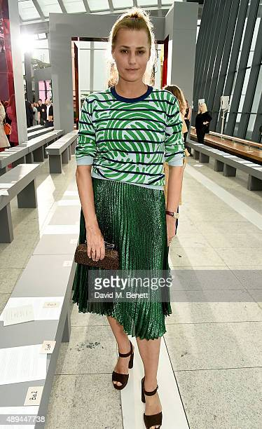 Yasmin Le Bon attends the Christopher Kane show during London Fashion Week SS16 at Sky Garden on September 21 2015 in London England