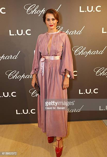 Yasmin Le Bon attends the cocktail opening of the Chopard exhibition 'LUC L'art d'une Manufacture' at Phillips Gallery on October 11 2016 in London...