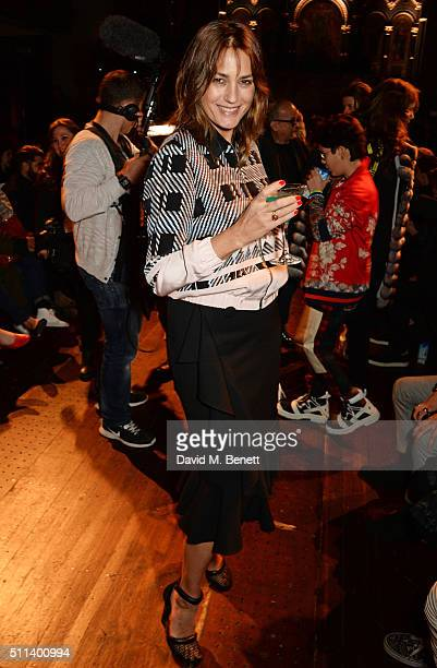 Yasmin Le Bon attends the Julien Macdonald show during London Fashion Week Autumn/Winter 2016/17 at One Mayfair on February 20 2016 in London England
