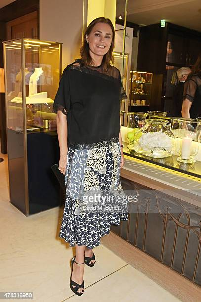 Yasmin Le Bon attends the Quercus Foundation PreWimbledon Cocktails with Ana Ivanovic in the Ten Room at Hotel Cafe Royal on June 24 2015 in London...