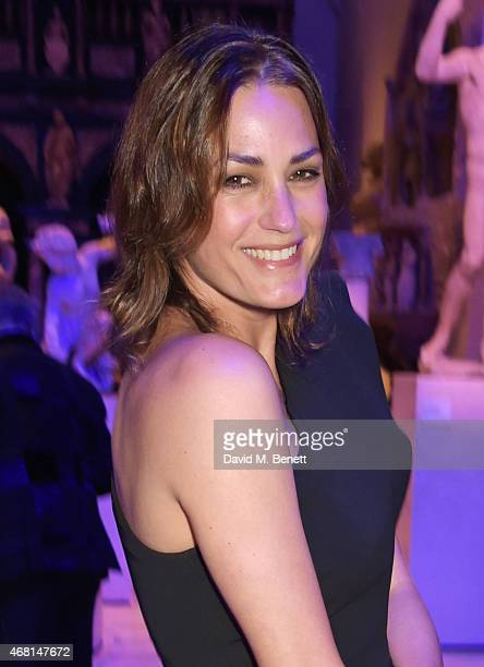 Yasmin Le Bon attends the Samsung BlueHouse private view of the 'Alexander McQueen Savage Beauty' exhibition at the Victoria Albert Museum on March...