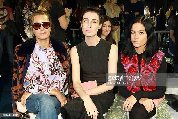 Yasmin Le Bon Erin O'Connor and Leigh Lezark attend the Mary Katrantzou show during London Fashion Week SS16 at Central Saint Martins on September 20...