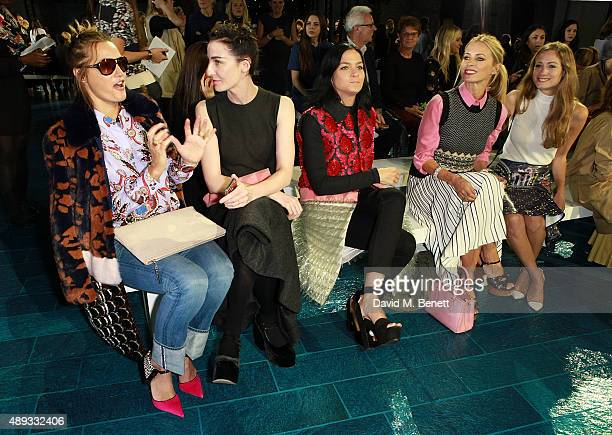 Yasmin Le Bon Erin O'Connor Leigh Lezark and Laura Bailey attend the Mary Katrantzou show during London Fashion Week SS16 at Central Saint Martins on...
