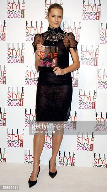 Yasmin Le Bon poses backstage in the Awards Room with the award on behalf of Karl Lagerfeld for Outstanding Contribution to Fashion at the ELLE Style...