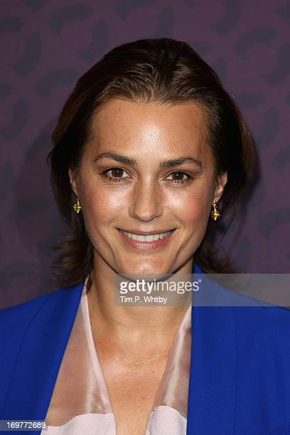 Yasmin Le Bon poses backstage in the media room at the 'Chime For Change The Sound Of Change Live' Concert at Twickenham Stadium on June 1 2013 in...