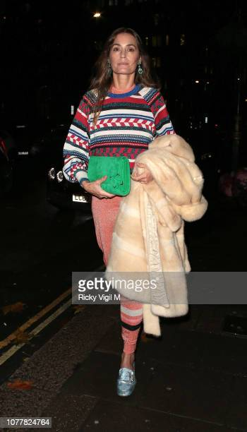 Yasmin Le Bon seen attending a party at Annabel's in Mayfair on December 05 2018 in London England