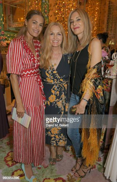 Yasmin Le Bon Sophie Goodwin and Petrina Nystrom attend the Mrs Alice x Misela launch event at Annabel's on July 3 2018 in London England