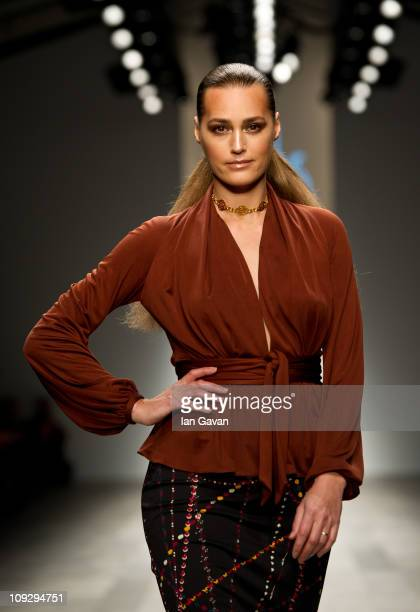 Yasmin Le Bon walks the runway at the Issa London show during London Fashion Week Autumn/Winter 2011 at Somerset House on February 19 2011 in London...
