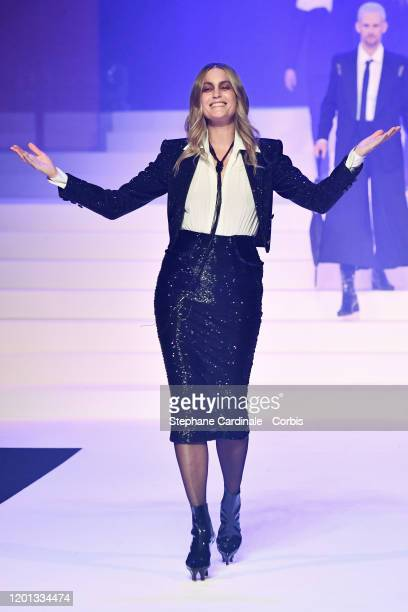 Yasmin Le Bon walks the runway during the JeanPaul Gaultier Haute Couture Spring/Summer 2020 show as part of Paris Fashion Week at Theatre Du...