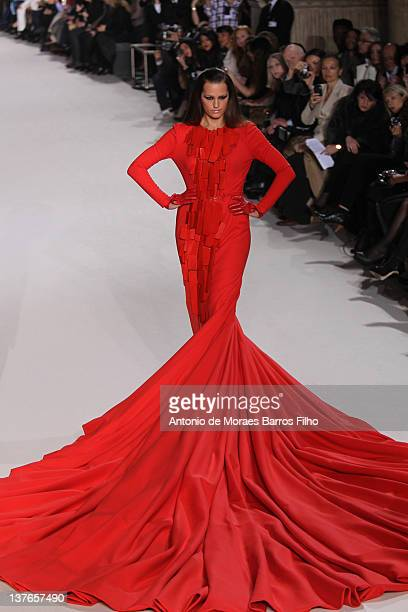 Yasmin Le Bon walks the runway during the Stephane Rolland Spring/Summer 2012 HauteCouture Show as part of Paris Fashion Week at Cite de...