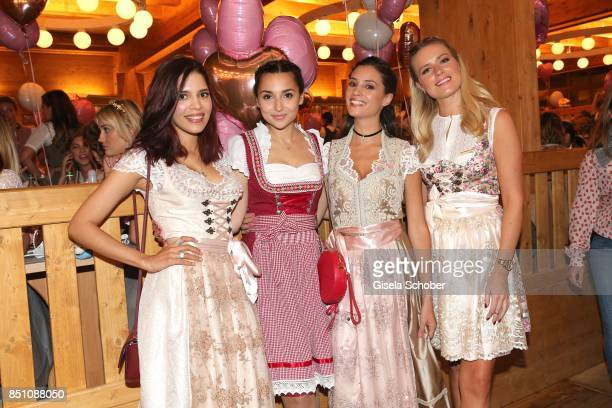 Yasmin Lord blogger influencer Rona Oezkan Nadine Menz and Vanessa Meisinger at the 'Madlwiesn' event during the Oktoberfest at Theresienwiese on...