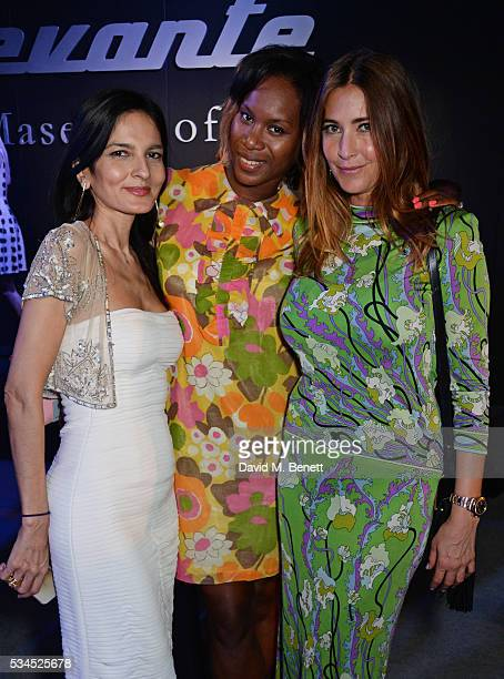 Yasmin Mills Aicha Mckenzie and Lisa Snowdon attend the UK VIP reveal of the Maserati Levante SUV at The Royal Horticultural Halls on May 26 2016 in...