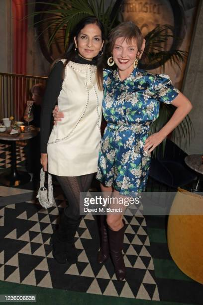 """Yasmin Mills and Camilla Rutherford attend a drinks reception ahead of a special screening of """"Quant"""" at The Everyman Chelsea on October 20, 2021 in..."""
