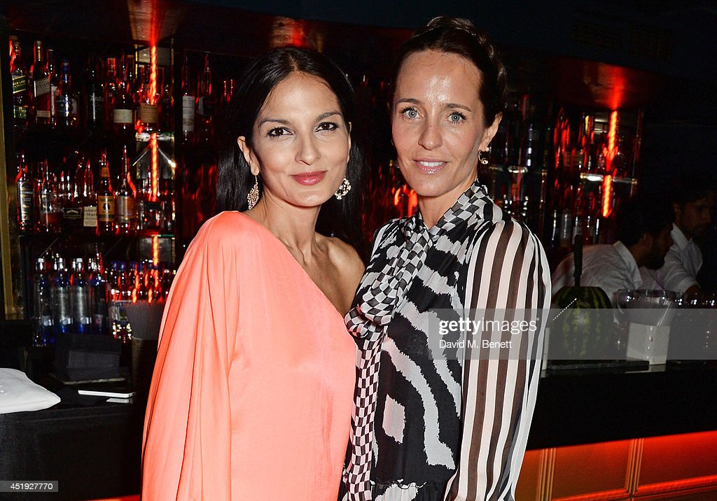 Yasmin Mills (L) and Julie Brangstrup attend Jo Wood and Yasmin Mill's Summer Party at Boujis on July 9, 2014 in London, England.