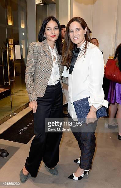 Yasmin Mills and Monica Vinader attend the Monica Vinader and Brita Fernandez Schmidt launch of the #SheInspiresMe friendship bracelet on October 8...