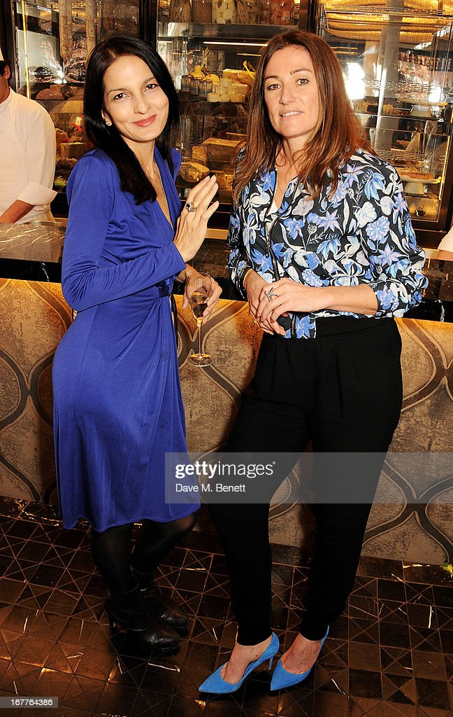 Yasmin Mills (L) attends the launch of Cash & Rocket, in aid of the (Red) Rush to Zero campaign, at Banca Restaurant on April 29, 2013 in London, England.